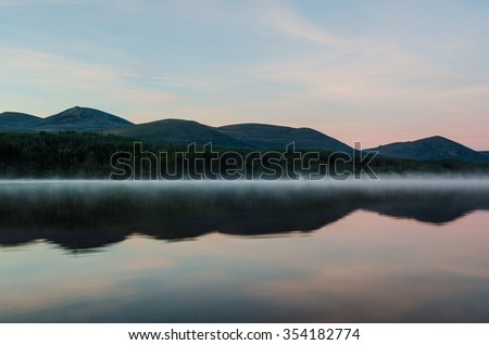 Red Sky over Loch Morlich  - stock photo