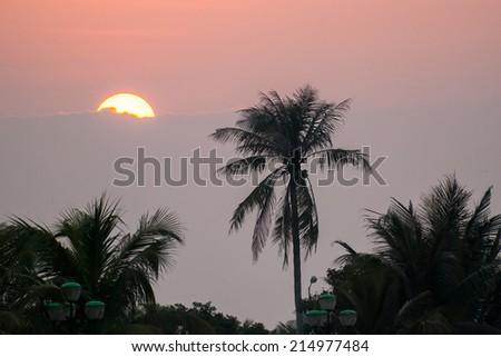 Red sky Sunset - stock photo
