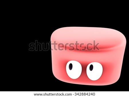 Red slime character looking at space - stock photo