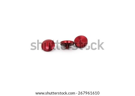 Red Small Soft Release Button on white background - stock photo