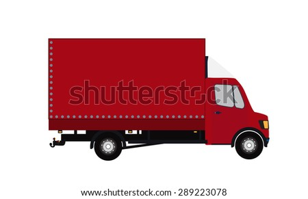 Red Small truck. Silhouette.  Illustration.  - stock photo