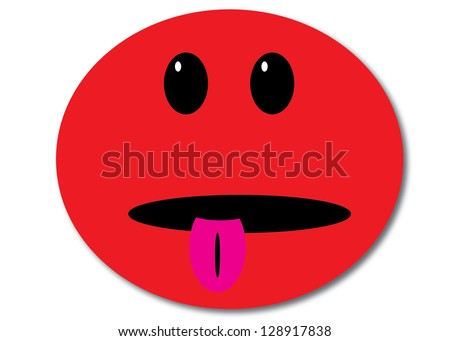 Red Smiley Face with Tongue Sticking Out - stock photo