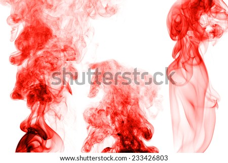 Red smoke isolated on white background
