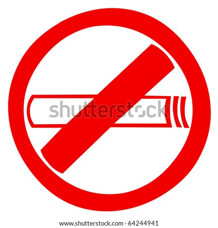 Red smoking sign zone - stock photo