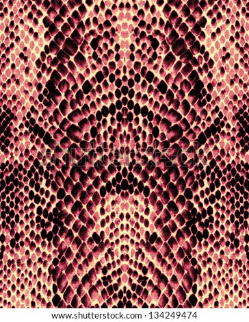 Red snake skin texture background - stock photo