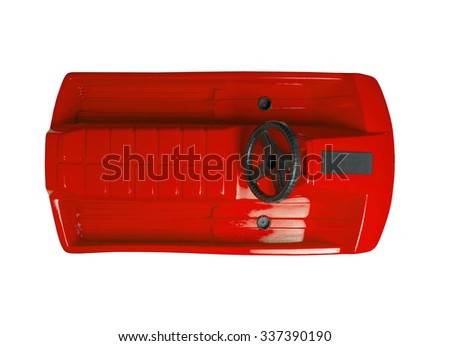 Red snow-scooter isolated on a white background - stock photo
