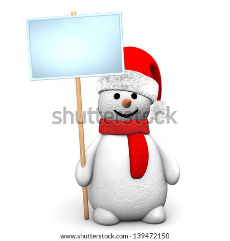 Red snowman with sign board  on the white background.