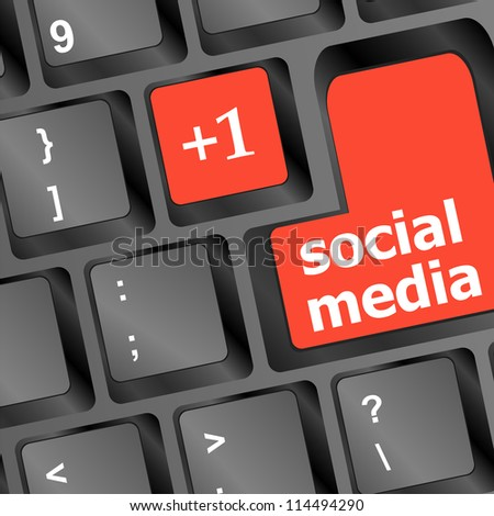 red social media buttons on keyboard. raster