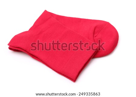 Red socks on a white background