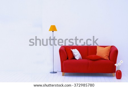 red sofa and lamp interior  - stock photo