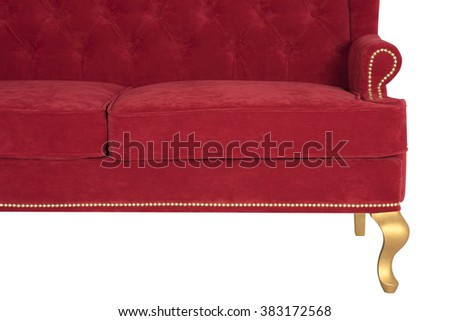 Red sofa Chesterfield from a velvet, on a white background, a retro style