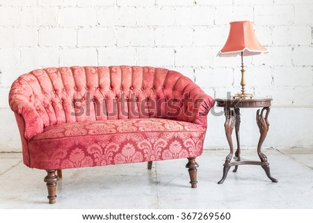 Red Sofa Couch Vintage Room Lamp Stock Photo 367269560 - Shutterstock