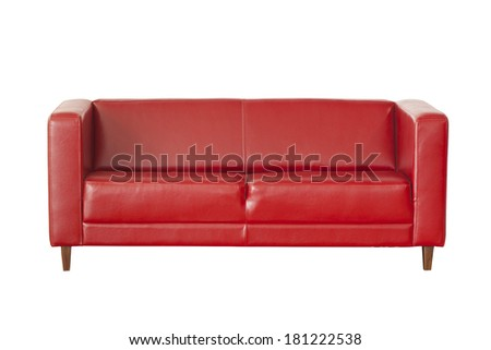 Red sofa (couch) isolated on white - stock photo