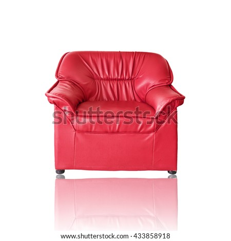 Red sofa furniture on white background - stock photo