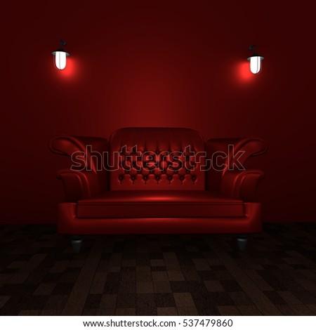 Red Sofa In Dark Red. Lamp.3d Rendering