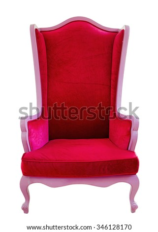 Red sofa isolated on white background. - stock photo