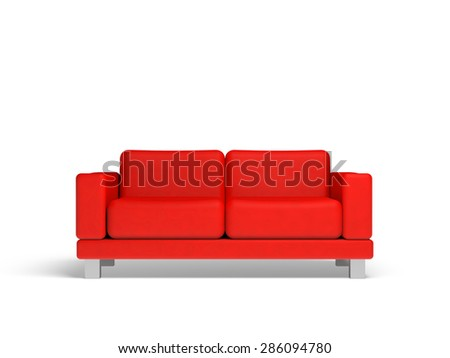 Red sofa isolated on white empty interior background, 3d illustration, front view - stock photo