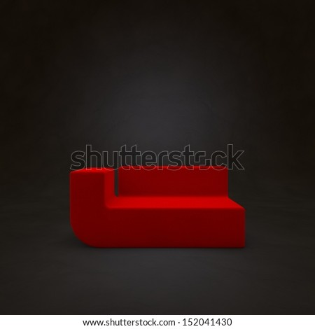 Red sofa on dark background, 3d render - stock photo