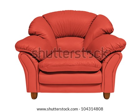 Red sofa on white background with clipping path - stock photo