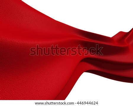 Red Soft Fabric Cloth Isolated On White Background. 3d Render Illustration - stock photo