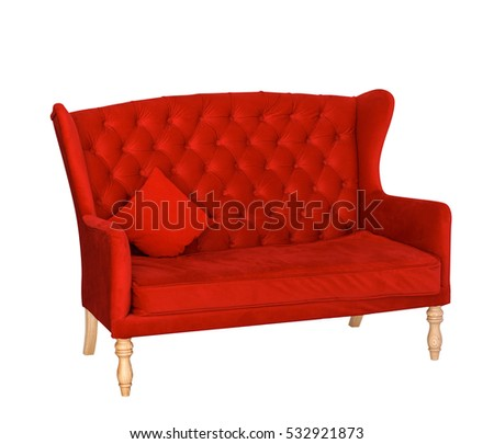 Red soft sofa with fabric upholstery isolated on white