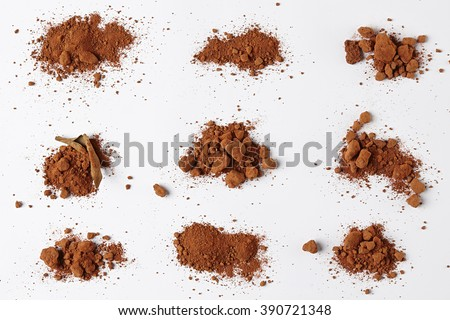 Red Soil isolated on White Background. Pile of Dirt and Stones. Top View of a Heap of Ground. Close Up Macro View Collection - stock photo