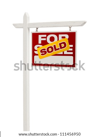 Red Sold For Sale Real Estate Sign Isolated on a White Background with Clipping Path. - stock photo