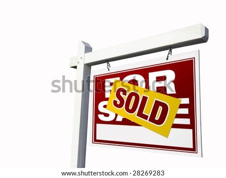 Red Sold For Sale Real Estate Sign Isolated on White. - stock photo