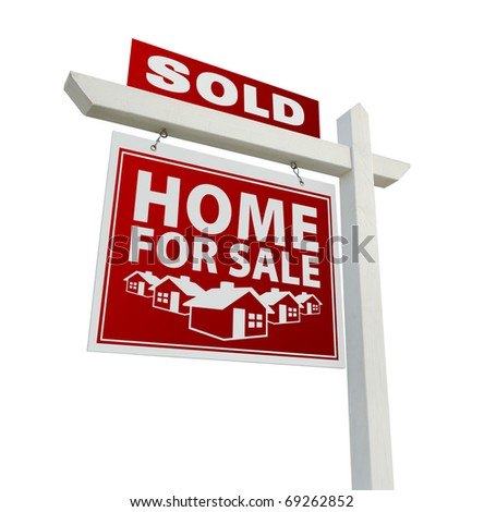 Red Sold Home for Sale Real Estate Sign Isolated on a White Background. - stock photo