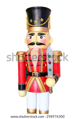 Red soldier nutcracker on white background - stock photo