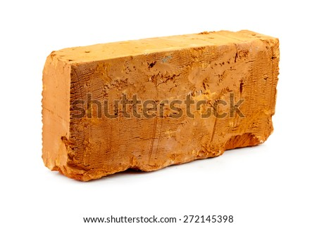 red solid brick on a white background - stock photo