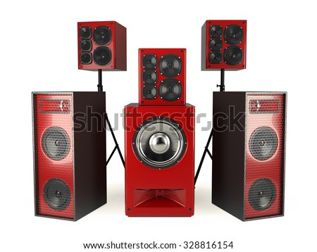 Red Sound Speakers System Isolated On White - stock photo