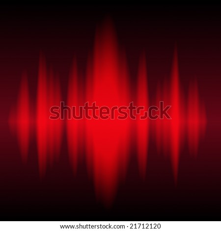 Red sound waves - stock photo