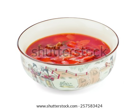 red soup on a white background - stock photo