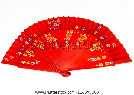 Red spanish fan on a white background - stock photo