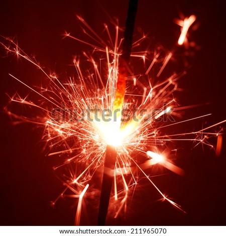 red sparkler - stock photo