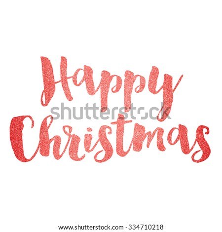 Red sparkling glitter text background happy christmas - stock photo