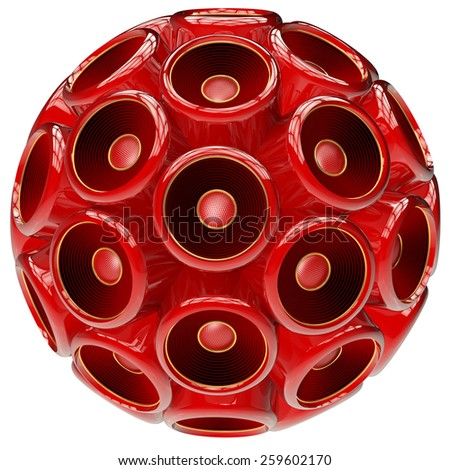 Red Speaker sphere concept of music and surround sound power generated 3D  - stock photo