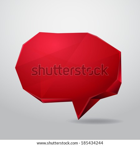 Red speech box in abstract style, can be used for design projects, card, text background - stock photo