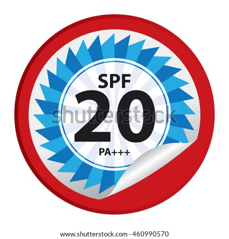 Red SPF 20 PA+++ Product Information Label Infographics Icon on Circle Peeling Sticker Isolated on White Background