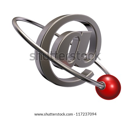 red sphere fly around email symbol - 3d illustration - stock photo