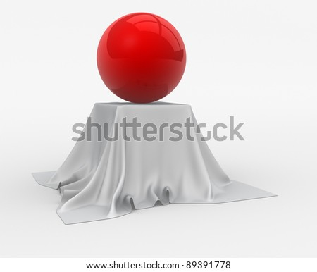 Red sphere sitting on table cloth. 3d render illustration