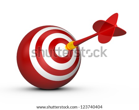 Red sphere target with white stripes and plastic dart arrow, isolated on white background.