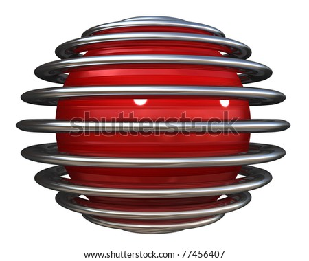 Red sphere with chrome rings