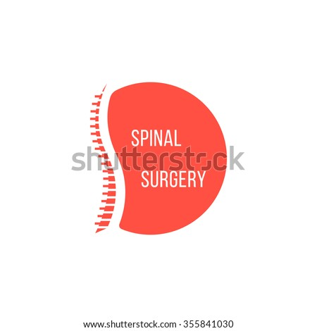 red spinal surgery icon. concept of scoliosis, analysis ridge, cure ache,  preventive therapy. isolated on white background. flat style modern silhouette logotype design raster illustration - stock photo