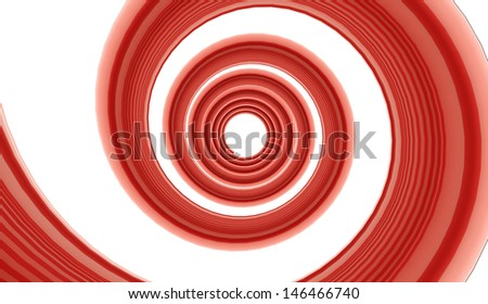 Red spiral on white background