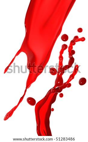 Red splash on white background - stock photo