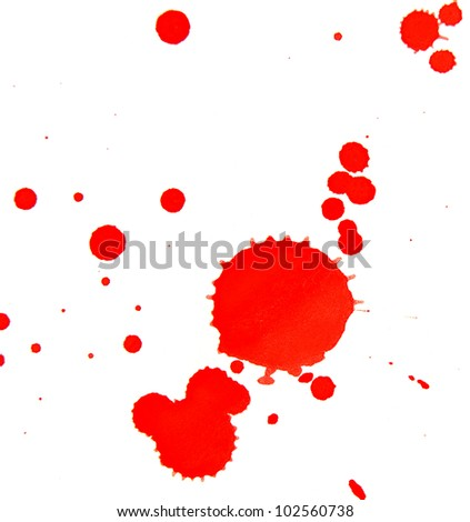 Red splashes on a white background. - stock photo