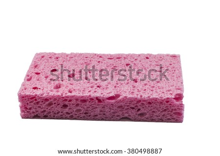 Red sponge with white background