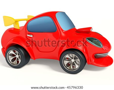 red sport car on white background - stock photo